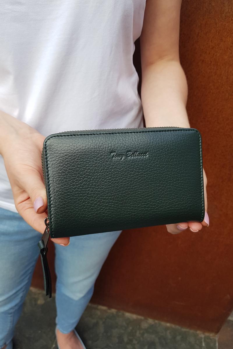 Кожаный кошелёк тёмно-зелёного цвета