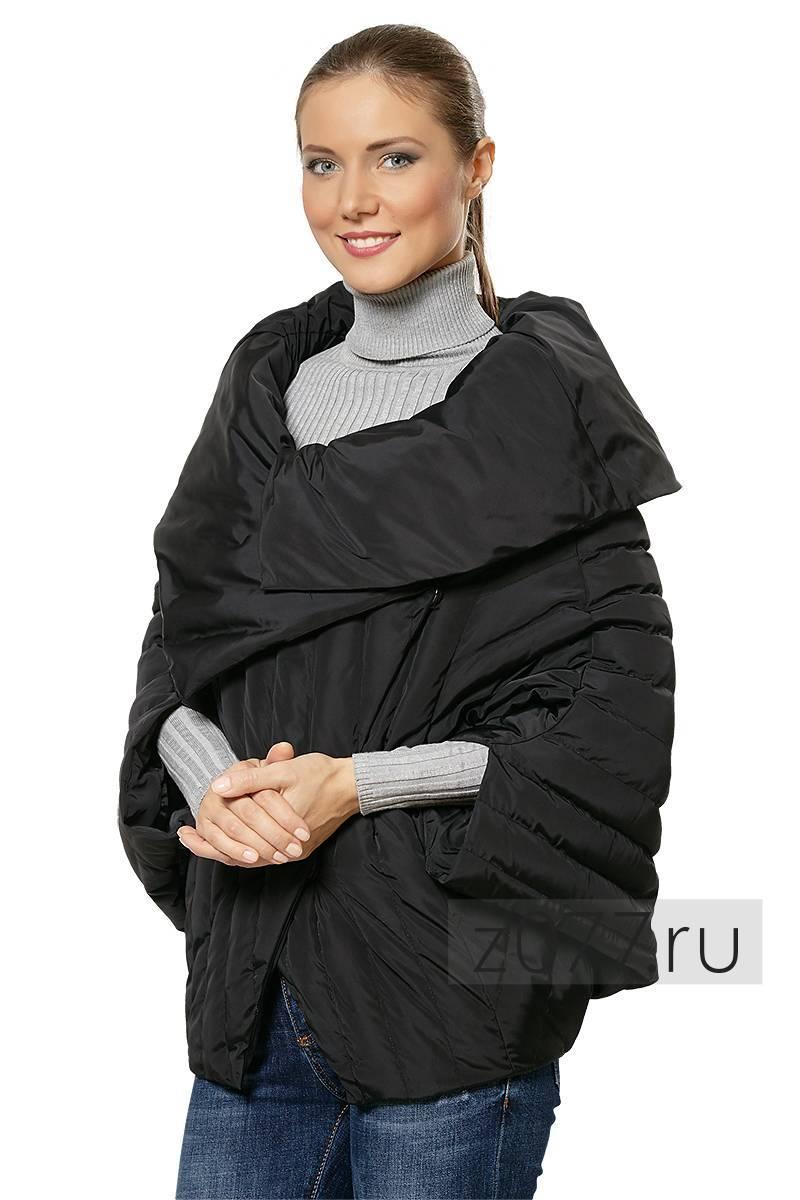 элегантный черный пуховик с объемным воротником и укороченными рукавами