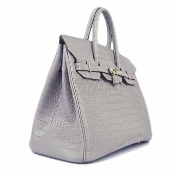 Сумка женская Hermes Birkin 35 Crocodile Grey 136