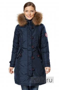 Женская темно-синяя зимняя куртка